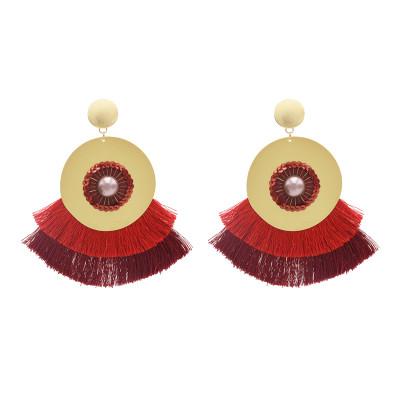 E-4653 Bohemian Handmade Statement Drop Earring Tassel Threads Big Earrings for Women Bridal Bridesmaid Ear Jewelry