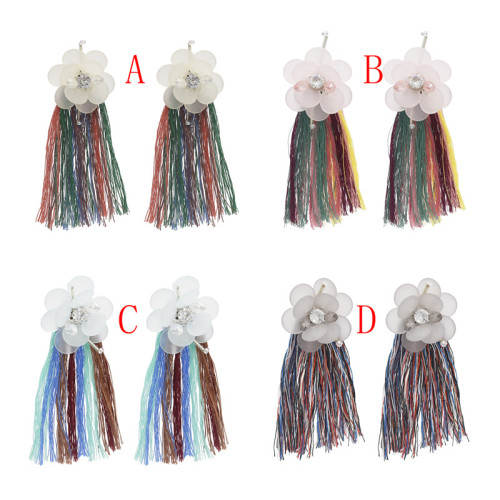 E-4654 Bohemian Flower Shape Thread Crystal Tassels Earring Ear Studs for Women