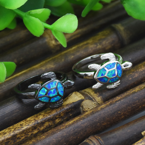 R-1496 Punk Black Gold Filled Blue Fire Opal Rings Turtle Ring Wedding Finger Jewelry