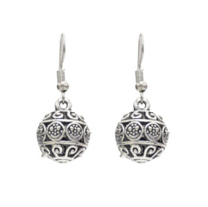 E-4650 New Fashion Carved Design Vine Antique Vintage Tibetan Silver Plated Hollow Flower Round Ball Shaped Dangle Drop Earrings