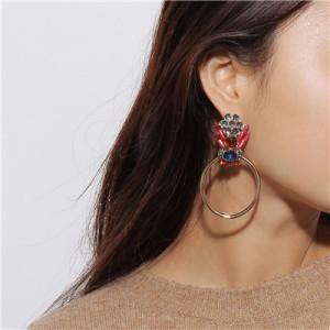 E-4651 Trendy Big Cirque Design Cicadas Shape Rhinestone Earring For Women