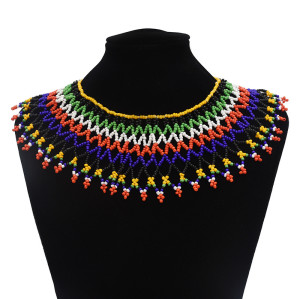 N-7061  Bohemian Resin Bead Tassels Fashion Choker Necklace Pendant