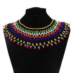 N-7061  Bohemian Resin Bead Tassels Fashion Choker Necklace Pendant