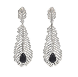 E-4657 Vintage Bohemian Black Stone Rhinestone Leaf Long Statement Earrings Ehnic Handmade Fringe Earring