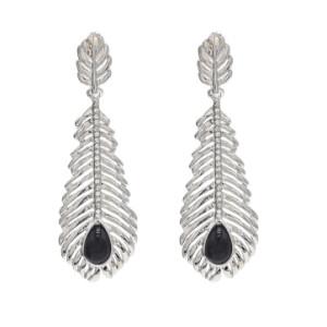 E-4657 Vintage Bohemian Black Stone Rhinestone Leaf Long Statement Earrings Ehnic Handmade Fringe Earring