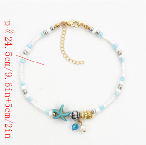 B-0893 Bohemian Fashion  Anklet Acrylic beads Jewelry Making Crystal Seastar Starfish Foot Chain Anklet Bracelet Jewelry for Women Feet Accessories