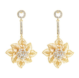 E-4658 Luxurious Gold Silver Hollow Flower Snowflake Statement Earrings Long Crystal Leaves Drop Dangle Earrings for Women Ladies Wedding Party Jewelry