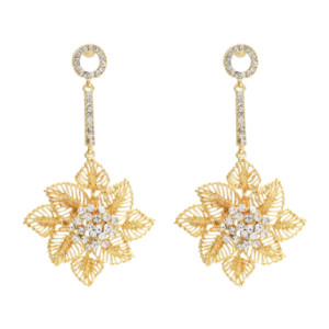 E-4658 Luxurious Gold Silver Hollow Flower Snowflake Statement Earrings Long Crystal Leaves Drop Dangle Earrings for Women Ladies Wedding Party Jewelry