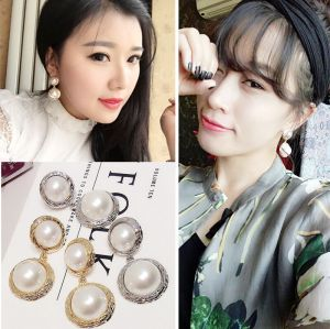 E-4659 Elegant Silver Gold Metal Pearl Drop Earrings for Women Bridal Wedding Party Jewelry