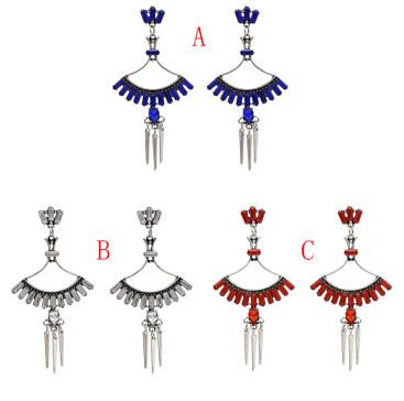 E-4660 3 Colors New Fashion Trendy Long Crystal Water Drop Dangle Earrings Women Engagement Jewelry