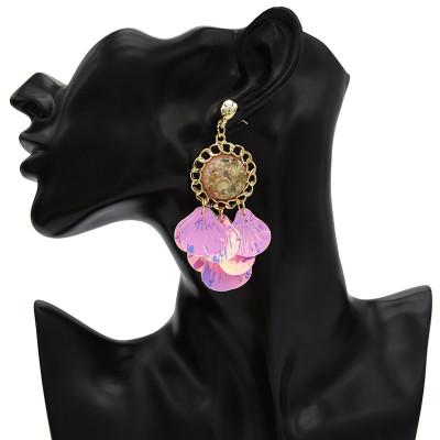 E-4662 4 Color Bohemian Shell Shape Tassels Round Resin Ear Studs Earrings