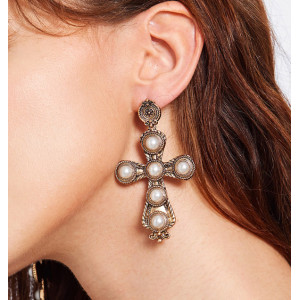 E-4656 European Baroque Golden Alloy Pearl Cross Big Dangle Earrings