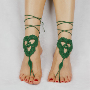B-0894 Handknit Crochet Cotton Ankle Foot Chain Sandals Yoga Anklet Bridal Accessories