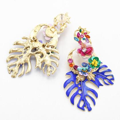 E-4669 Big Fashion Gold Metal Women Flower Shape Rhinestone Drop Earring Wedding Party Jewelry