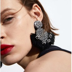 E-4670 6 Colors Trendy Bohemian Round Shape Tassels Metal Acrylic Earrings Summer Jewelry