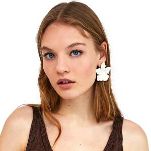 E-4668 Big Fashion Gold Metal Women Acrylic Flower Shape Drop Earring Wedding Party Jewelry