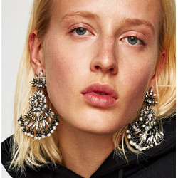 E-4665 Luxurious Baroque Black Gun Alloy Rhinestone Snowflake Statement Earrings Big Large Crystal Drop Dangle Earrings for Women Ladies Wedding Party Jewelry