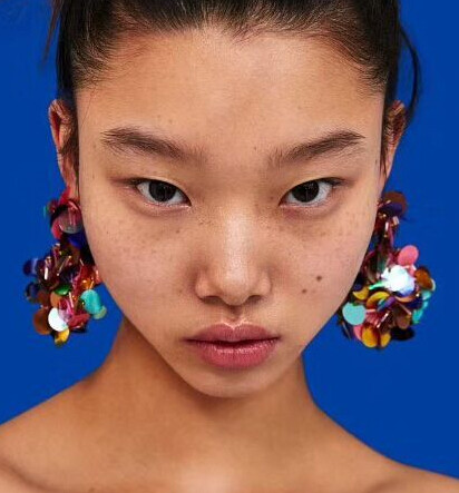 E-4667 Handmade Bohemian Sequins Drop Earrings for Women