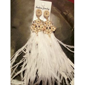 E-3428 Korea style gold plated alloy vintage carving flower pearl drop white feather dangling earrings