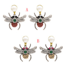 E-4664 New Fashion Personality Women Pear Stud Crystal Rhinestone Drop Earring Insect Shaped Dangle Wedding Party Jewelry