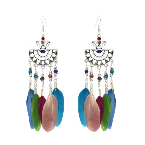 E-4666 Bohemian Vintage Silver Tassel Feather Drop Fish Hook Earrings