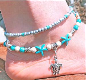 B-0895 4 Styles Bohemian Starfish Tortoise Shell Shape Beads Anklets Bracelets For Women Beach Jewelry