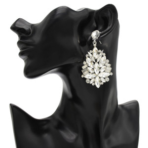 E-4674 5 Colors Water Drop Crystal Fashion Statement Ear Stud Earring