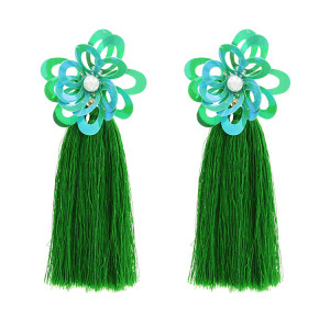 E-4677 Bohemian Pearl Sequins Flower Shape Thread Tassels Drop Earrings