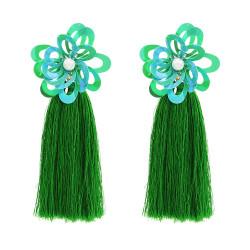 E-4677 Bohemian Pearl Sequins Flower Shape Thread Tassels Drop Earrings