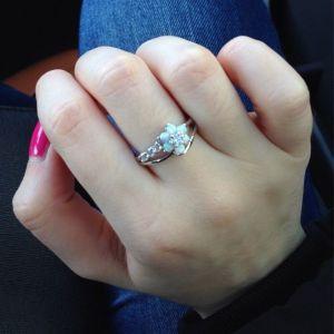 R-1497 Fashion Flower Rhinestone Crystal Opal Ring Wedding Ring for Bridal