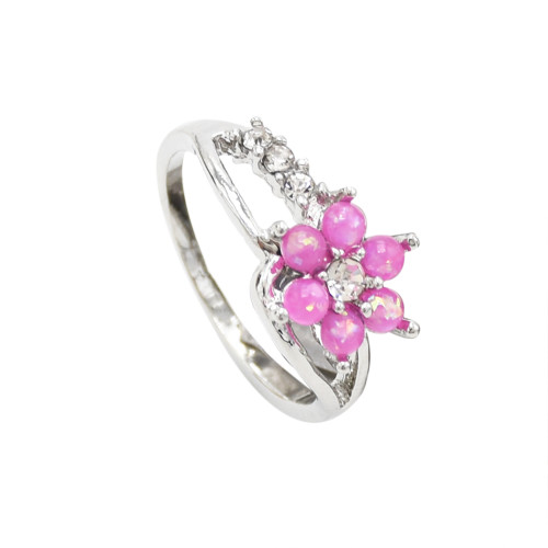 R-1497 Fashion Flower Rhinestone Crystal Opal Ring Wedding Ring for Bridal