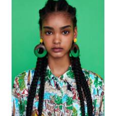 E-4676 6 Colors Trendy Bohemian Round Shape Resin Earrings For Women Summer Jewelry