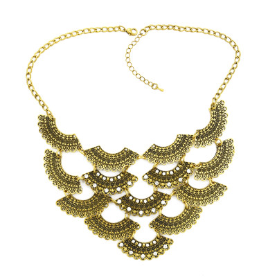 N-1879 New Fashion vintage style scale fan-shaped rhinestone flower choker Necklace