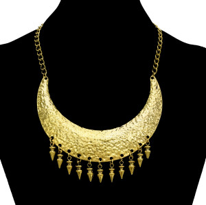 N-1882 Hot Gothic Punk Rivet Tassels Vintage Gold Metal Choker Bib Necklace
