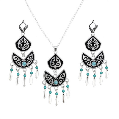 N-7068 Bohemian Vintage Silver Turquoise Embellish Small Leaves Tassels Necklace Earrings Fashion Jewelry Sets