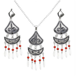 N-7070 Vintage Silver Metal Green Red Beads Pendant Necklaces Earrings Sets for Women Boho Turkish Jewelry