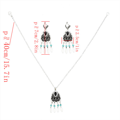 N-7069 New Bohemian Vintage Silver Turquoise Embellish Small Leaves Tassels Necklace Earrings Fashion Jewelry Sets