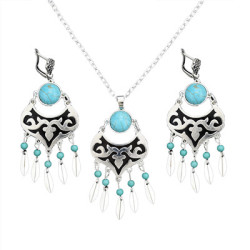 N-7072 Bohemian Vintage Silver Turquoise Embellish Small Leaves Tassels Necklace Earrings Fashion Jewelry Sets