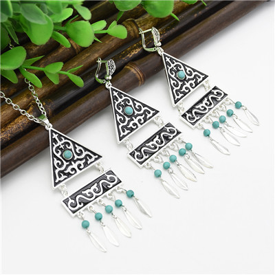 N-7073 Bohemian Vintage Silver Turquoise Embellish Small Leaves Tassels Necklace Earrings Fashion Jewelry Sets