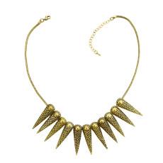 N-1884 New Punk Fashion Vintage Gold Tone Metal Spike Rivets Chunky Bib Necklace