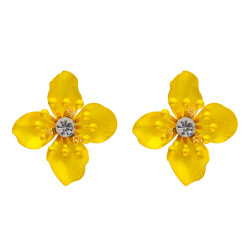 E-4673 Luxurious Korean Style Crystal Flower Shaped Stud Earrings