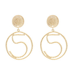 E-4671 Fashion Big Pendant Metal Hollow 5 Words Drop Earrings Stud Earring for Women