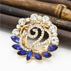 P-0404 4 Colors Generous Shining Gold Plated Alloy Full Crystal Rhinestones Flower Buckle Brooch Scarf Accessories