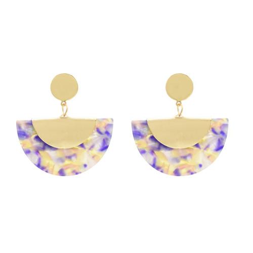 E-4698 Bohemian Resin Sector Statement Ear Stud Earrings for Women