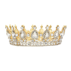 F-0492 Wedding Bridal Gold Plated Handmade Crystal King Queen Crown Headband Accessories