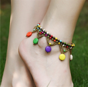 B-0897 3 Colors Bohemian Trendy Anklet Turquoise Beads Crystal Anklet Foot Chain Jewelry For Women