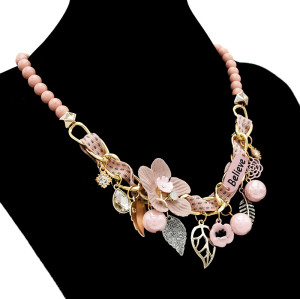 N-7075 New Bohemian Bead Chain Mulriple Flower Leaf Pendant Fashion Necklace for Women