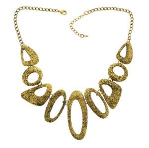 N-1799 Retro Gold Metal Art Link Statement Hammered Choker Bib Necklace