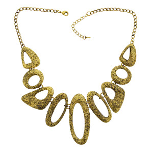 N-1799 Retro Gold Metal Art Link Statement Hammered Choker Bib Necklace