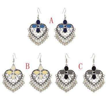 E-4687 Vintage Silver Metal Bells Statement Drop Earrings for Women Boho Wedding Party Jewelry